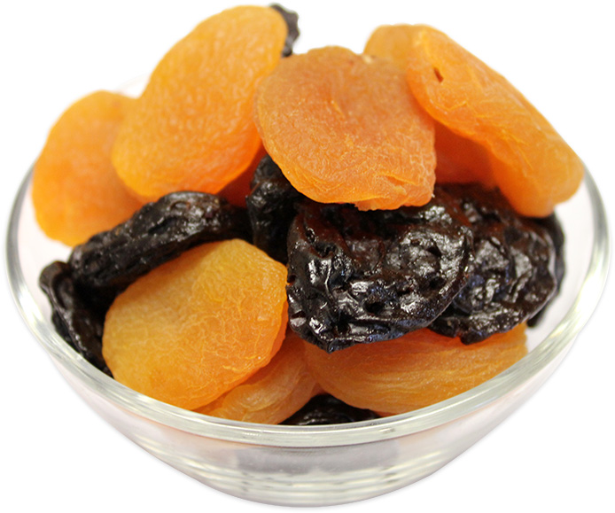 Dried Apricots Mixed with Dried Prunes