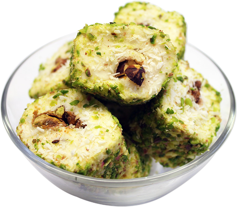 Pistachio Rolled Turkish Delight with Coconut
